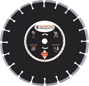 Diamond Products Core Cut Premium Black Cured Concrete Wet Blade 12 X 110