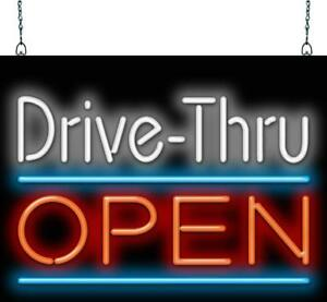 Drive Thru Open Small Neon Sign Jantec 3 Sizes Fast Food Restaurant
