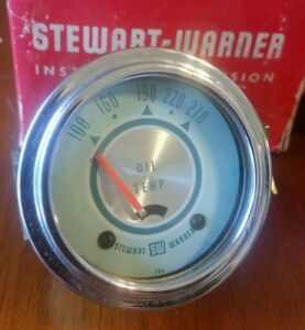 Vintage Twin Blue Stewart Warner Oil Temp Gauge Gasser Hot Rod Rat Rod 12 Volt