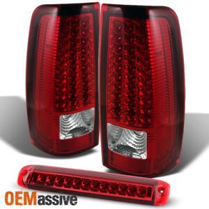Fit 2003 2006 Chevy Silverado Gmc Sierra Red Clear Led Tail Lights brake Lamp