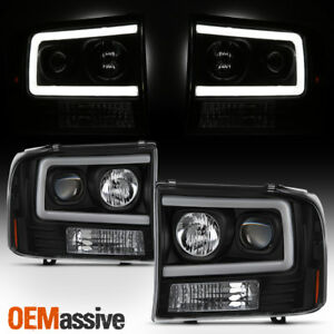 For 99 04 Ford F250 Super Duty 00 04 Ford Excursion Projector Headlights Black