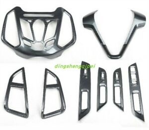 8pcs Carbon Fiber Style Car Interior Kit Cover Trim For Ford Ecosport 2013 2018