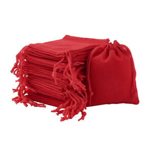 100 Red Drawstring Velvet Jewelry Bags Gift Packing Pouches Party Holiday 9x7cm