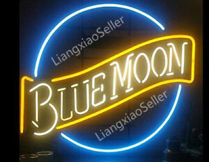 17 x14 Blue Moon Open Business Store Beer Bar Real Neon Light Sign Free Ship