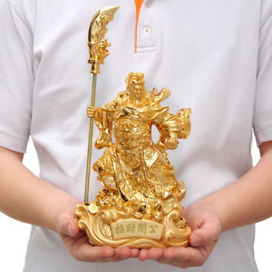 30cm Chinese Heroic Guan Gong Yu Warrior God Sword Stand In Dragon Statue