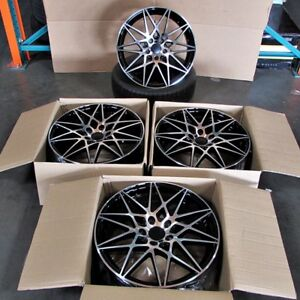 M3 Style 18x8 9 5x120 Et35 37 Black Machined Face Wheel Set Fit Bmw F10 535 550