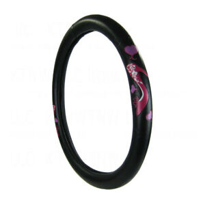 New Pink High Heels Black Synthetic Leather Steering Wheel Cover