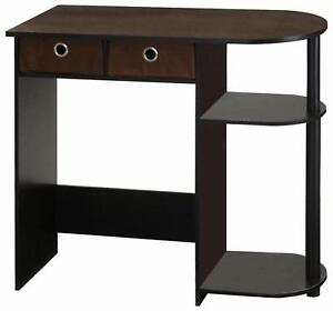 Small Computer Desk With Drawers Student Writing Study Kids Bedroom Espresso