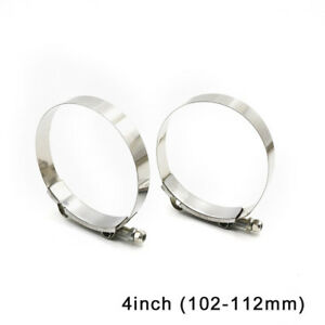 2pcs 4 T Bolt Clamp Silicone Stainless Steel Hose Turbo Intake Intercooler
