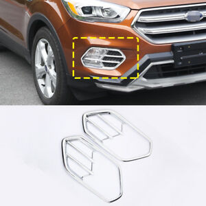 2x For Ford Kuga Escape 2017 2018 Abs Chrome Front Fog Lights Lamp Covers Trim