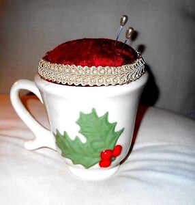 Victorian Christmas Ceramic Teacup Pin Cushion Red Velvet Pearl Pins Holly Mug