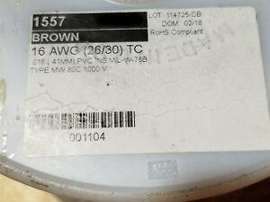 Alpha 1557 16awg Tinned Copper Pvc Hook up Wire Mil w 76b 80c 1000v Brown 100ft