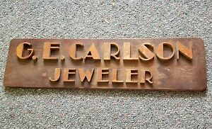 Vintage Wood Business Sign g e Carlson Jewler 22x6 Walsh Novelty Co