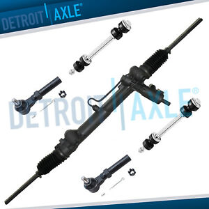 New 5pc Kit Steering Rack Pinion 2 Outer Tie Rods 2 Front Sway Bar Links