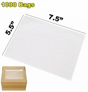 1000 7 5x5 5 Clear Packing Invoice List Pouches Shipping Label Envelope Adhesive