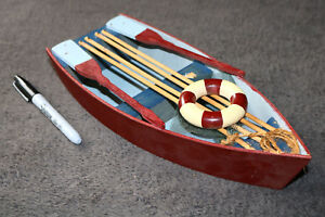 Wood Model Ship Large Scale Row Boat Detailed Simple Elegant Wall Nautical Decor
