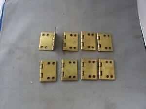Lot 8 Vtg Nos Brass Plated Limited 90 Degree Hinges 2 X 2 5