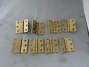 Lot 8 Vtg Nos Brass Plated Limited Degree Butt Hinges 2 X 2 140 150