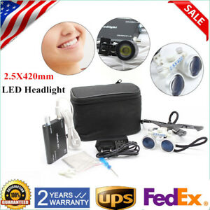 Adjustable 2 5x420mm Dental Surgical Medical Binocular Loupes With Led Headlight
