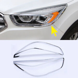 2x For Ford Kuga Escape 2017 Abs Chrome Front Headlamp Headlight Frame Trim