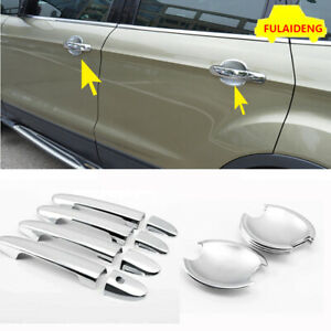 12pcs For Ford Escape Kuga 2013 2017 Abs Chrome Side Door Handle Bowl Cover Trim