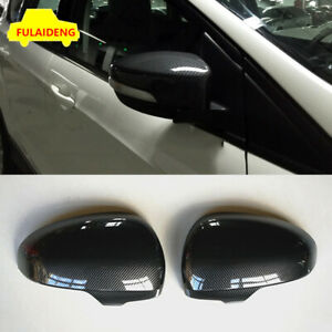 2x For Ford Escape Kuga 2017 Abs Car Rear View Mirror Cover Carbon Fiber Texture