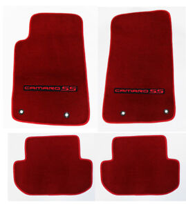 New Red Carpet Floor Mats 2010 2015 Camaro Embroidered Logo And Ss In Red Set 4