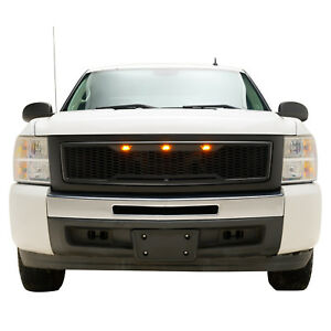 07 13 Chevy Silverado1500 Grille Raptor Style Black Abs Honeycomb W Led Lights