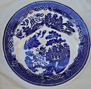 Antique Plate Blue Willow England H Barrow Divider Thumb Holes Ceramic 10