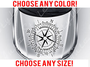 Compass Travel Outdoor Off Road Mirrored Hood Decal Vinyl Custom Any Size Color