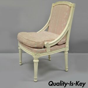 French Louis Xvi Style White Painted Boudoir Side Accent Chair Carved Wood