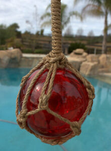 5 5 Red Glass Buoy Float Rope Nautical Ball Bouy Tiki Fishing
