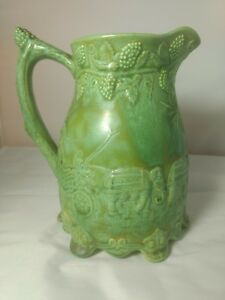Antique Victorian Drabware Relief Moulded Pitcher