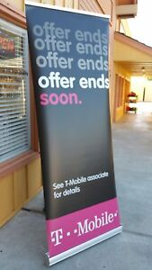 Retractable Roll Up Banner Stand W High Quality Metal Frame 30 X 80