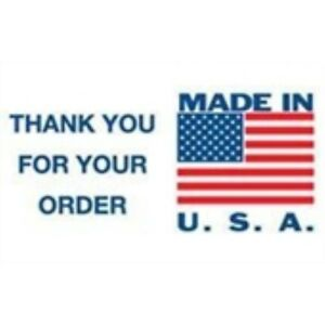 1000 dl1630 3 X 5 Made In Usa Thank You For Your Order Label