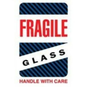 1000 dl1570 4 X 6 Fragile Glass Handle With Care black blue Stripes Label