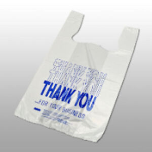 1000 Thank You Pre printed T shirt Bags 11 1 2 X 6 1 2 X 21 1 2 Recylable