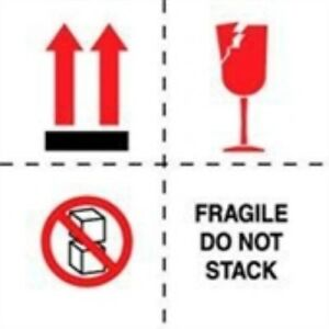 1000 dl4501 4 X 4 Fragile Do Not Stack boxes arrows broken Glass Label