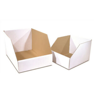 50 12 X 12 X 8 Jumbo Open Top Bin Box white Corrugated One Piece Construction