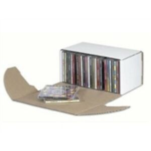 50 10 5 16x5x5 9 16 Outside Tuck Cd Jewel Corrugated Mailer holds 25 Cd s White