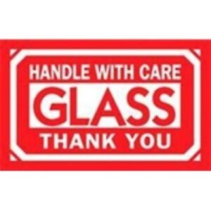1000 dl1230 3 X 5 Handle With Care Glass Thank You Label