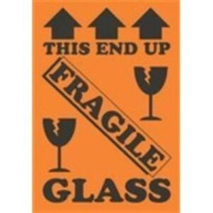 1000 dl1981 4 X 6 This End Up Fragile Glass arrows broken Glass Label