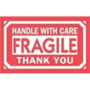 1000 dl1250 3 X 5 Fragile Handle With Care Thank You Label