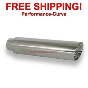 Stainless Steel Exhaust Tip Double Wall 2 5 Inlet 3 5 Outlet 16 Long