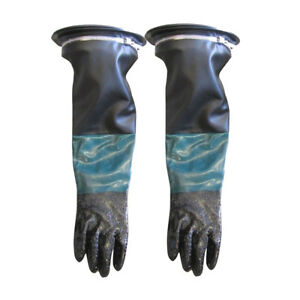 1pair Heavy Duty Sandblasting Gloves Hoder For Sand Blast Cabinet 60cm