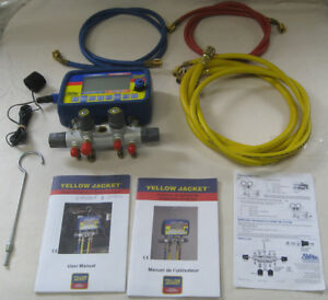 Yellow Jacket 40805 Refrigeration System Analyzer Digital Manifold 4 Valves