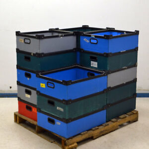 18 Large Plastic Corrugated Stackable Storage Bin Totes 23 X 17 5 X 7
