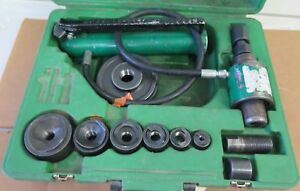 Greenlee 7306 Hydraulic Knockout Punch Driver Set W punches Dies In Case