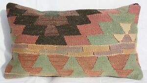 Turkish Kilim Rug Lumbar Pillow Cushion Cover Hand Woven Wool 22 X 13