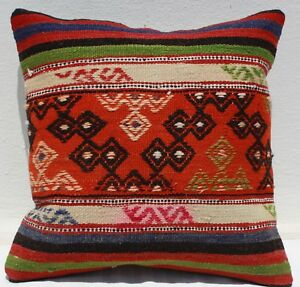 Turkish Kilim Rug Pillow Cushion Cover Hand Woven Wool 17 X 17